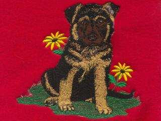 German Shepherd Puppy & Flowers