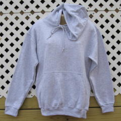 Gray Hooded Sweatshirt With Embroidery