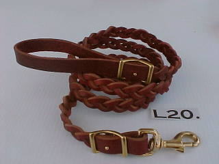 "3/4"" wide braided leather leash"