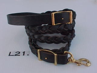 "1"" wide braided leather leash"