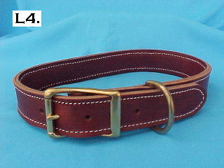 "1 1/2"" wide double thick leather dog collar"