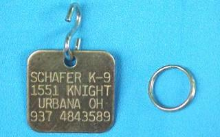 small square brass pet id tags